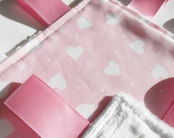 Baby Girl Taggie Blanket Pink with White Hearts - minky backed