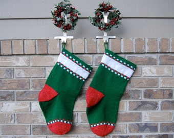 Red and green Christmas stocking - 1 personalized stocking - green stocking - hand knit stocking