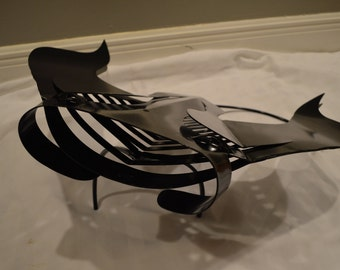 Beautiful Black Manta Ray Stingray Metal Sculpture