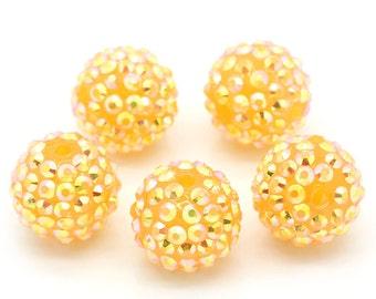Gold Rhinestone Beads - Gold Orange 18mm - Large - 5pcs - Ships IMMEDIATELY from California -  B812