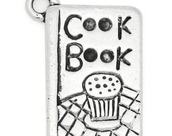 30 Cook Book Charms - WHOLESALE - Antique Silver - 20x14mm - Ships IMMEDIATELY from California - SC919a