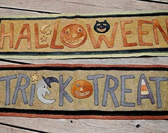 The Country Cupboard Folk Art Primitive Penny Rug Runners Pattern Hooked Rug Hooking Halloween Decor