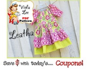 Leatha Lee.. Girl's Peasant Dress Pattern. INSTANT DOWNLOAD, Girl's Sewing Pattern, Toddlers Dress Pattern. Sizes 2T-8