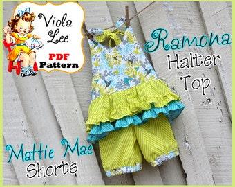 Ramona... Girl's Halter Top Pattern, Girl's pdf  Sewing Pattern. Girl's Halter Dress Pattern, Toddler Dress Pattern. Girl's Dress Pattern