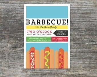 Hot Dog BBQ Invitations, Summer, Birthday Barbecue (15)