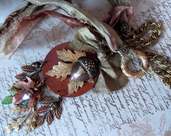 Leaves Fall Color Acorn Russian Gold Plate Brass Sari Silk Necklace