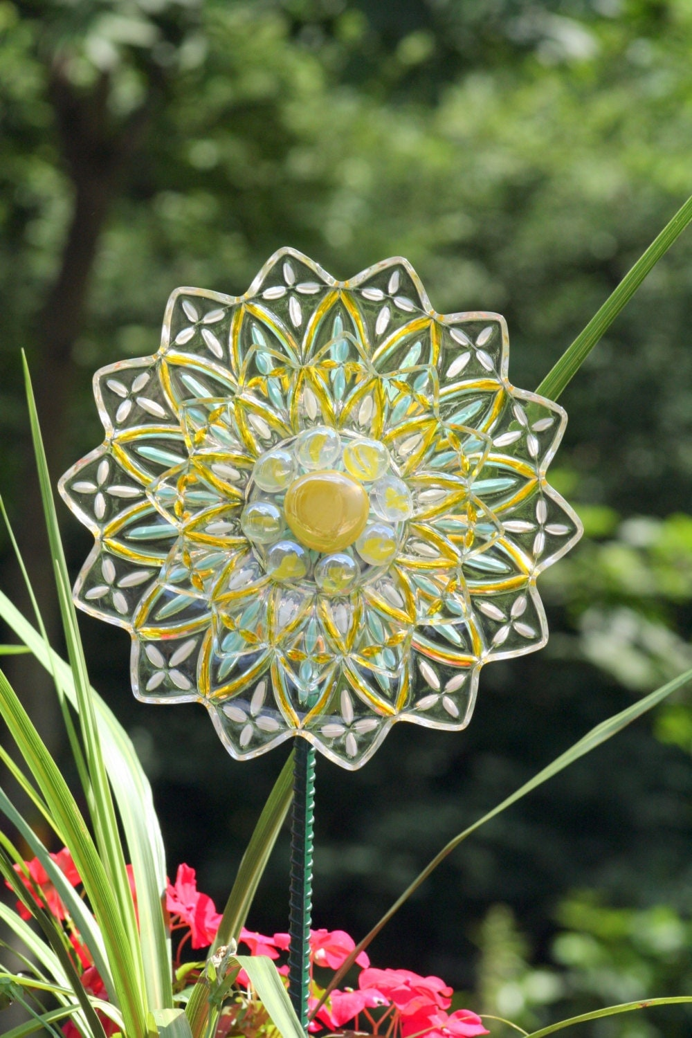 Garden plate flower and yard recycled glass sun catcher sold for Recycled glass flowers