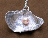 Oyster Mushroom Necklace with a Fresh Water Pearl