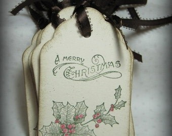 Vintage Look Merry Christmas Gift Tags (12)