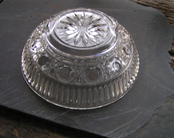 50s Pressed Glass Clear Bowl Three Patterned