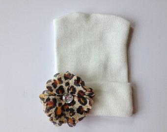First Bow Newborn Hospital Hat Leopard Print Flower Rhinestone Center newborn girl hat newborn hospital hat with bow, infant beanie