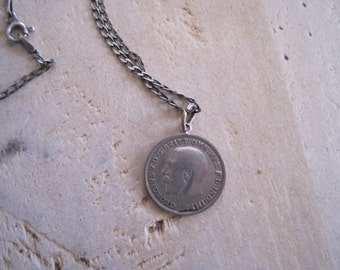 Sterling silver 1920 British crown coin and chain