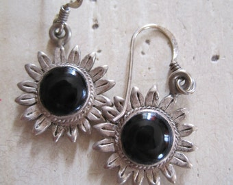 Black onyx and sterling silver sunflower earrings