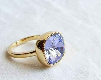 Cocktail Ring. Swarovski Cushion Cut Province Lavender Solitaire Gold Ring. Adjustable Ring. Gift fo Her. Jewelry under 25