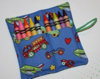 Crayon Roll Trains, Planes, Automobiles, Firetrucks Crayon Rollup, holds up to 10 Crayons Crayon Roll Party Favors