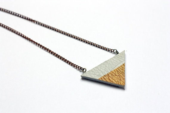 Leather and Gold Geometric Necklace // Gold Dipped Triangle Necklace