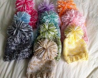 Hand knit Baby Hat - Bulky knit Pom Pom Hat