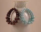 Teardrop Beaded Glass Pearl Beads with Silver Pewter Accents