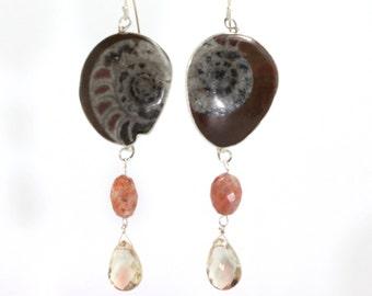 Oregon Sunstone & Ammonite Talisman Wanga Earrings