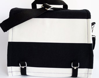 Large Messenger Bag - Marimekko - Black White Striped