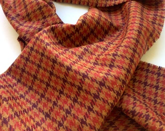 Handcrafted Handmade Wool Scarf Brown, Purple and Burgundy Colours