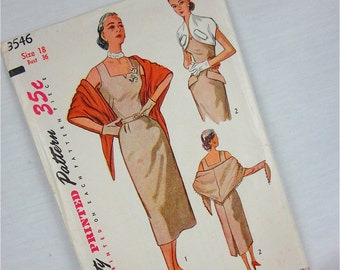 Vintage 50s Dress, Shawl, and Bolero Sewing Pattern, Simplicity, 3546