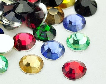 50 Mixed color faceted round resin cabochon 8mm 50pcs (1141) - Flat rate shipping