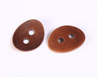 6 antique copper button 10mm x 14mm (1196) - Flat rate shipping