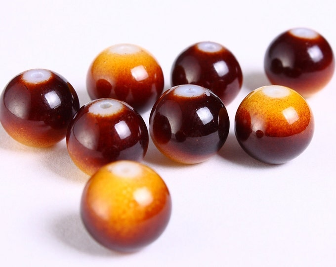 Sale Clearance 20% OFF -  8 12mm brown chocolate and cream round glass beads -  8 pieces (1170)