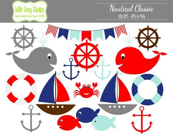 50% OFF Nautical Clipart Sailing Clipart Fish Clipart