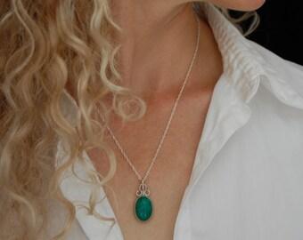 Green Stone Pendant Artisan Necklace Handmade Silver Necklace Artisan Jewelry Green Necklace Gifts