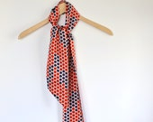 60's mod long silk scarf / red and blue polka dot