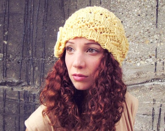 Knitted Slouchy Hat Yellow Womens Spring Summer Beanie White Button Crochet
