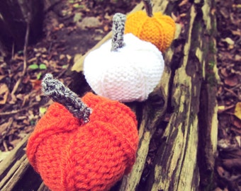 Knit Pumpkins Crochet Autumn Thanksgiving Decor Orange White Yellow Fall Decoration Set of Three