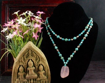 Rose Quartz Pendant, Turquoise Necklace, Beadwork Necklace, Bib, Statement Necklace, Ethnic Jewelry, Tribal Necklace, Beaded Necklace