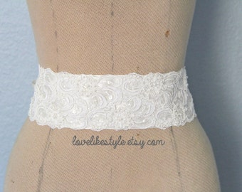 Ivory Beaded Alencon Lace Sash Belt, Bridal Sash, Bridesmaid Sash, Wide Lace Sash , SH-42