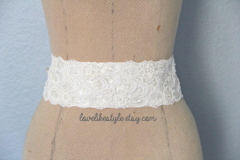 Ivory beaded alencon lace sash belt bridal sash bridesmaid for Lace wedding dress belt
