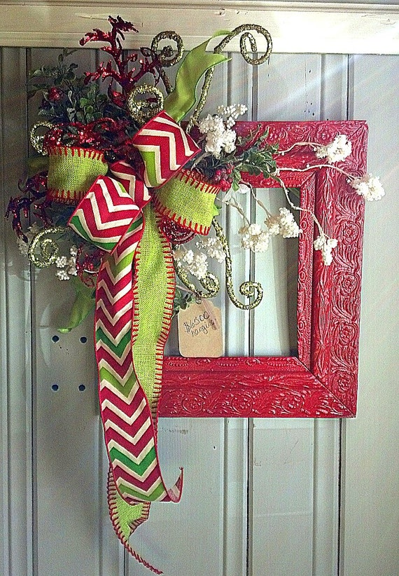 Vintage Red Christmas Frame for Door or Wall Hanging with