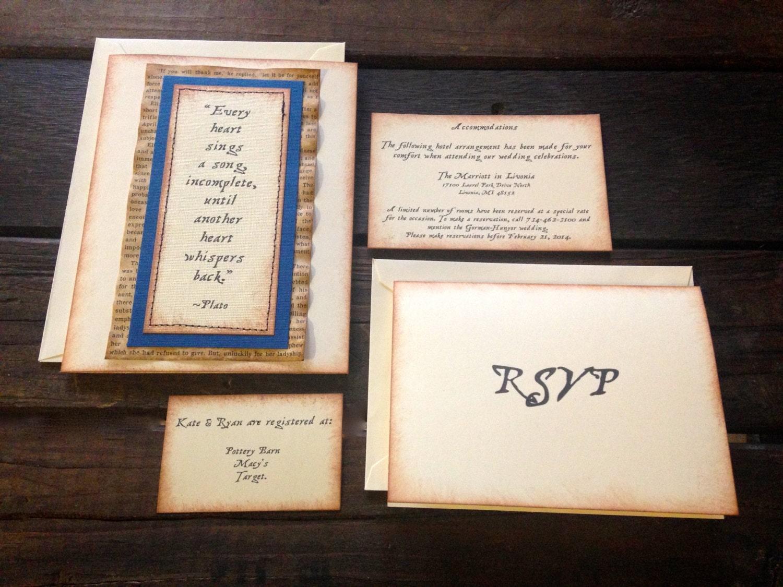 Romeo And Juliet Wedding Invitations: Wedding Invitation Suite Of 20, Vintage Wedding Invitation