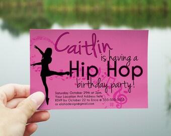 Custom Hip Hop Dance Birthday Invitation by Eloha Designs