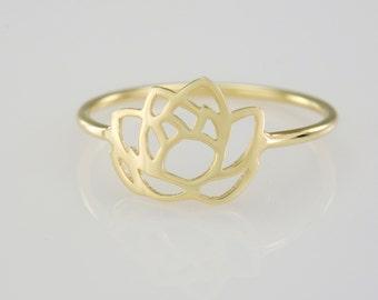 Solid 14K Gold Lotus Flower Ring