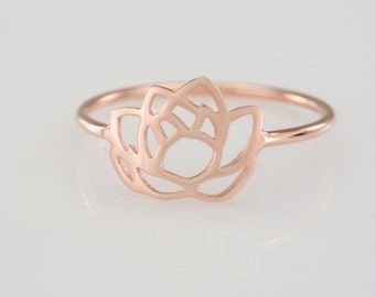 Pink Lotus Flower Ring in Solid 14K Gold