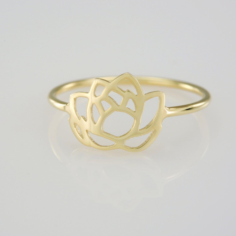 solid 14k gold lotus flower ring. Black Bedroom Furniture Sets. Home Design Ideas