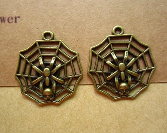 10pcs 30x28mm antique bronze spider web  insect charms pendant C4146