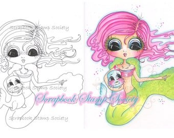 INSTANT DOWNLOAD Digital Digi Stamps Big Eyed Mermaid Penelope And Pug Besties Big Head Dolls Digi By Sherri Baldy