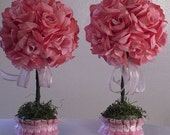 2 Pink Rose Topiaries // Wedding Flowers // Baby Shower Flowers // Party Centerpieces