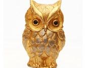 Vintage Gold Owl Cigarette Lighter & Paperweight, 1964