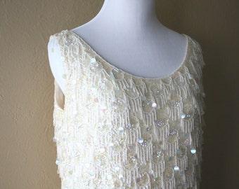 Gorgeous Vintage Beaded Sleeveless Wool Sweater