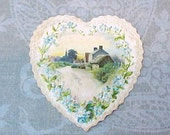 Reserved: Darling Little Victorian Era Heart Shaped Valentine with Blue For-Get-Me-Nots