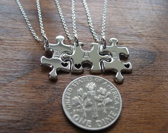 Three Puzzle Heart Pieces, Best Friends Necklace Pendants with Hearts in Miniature